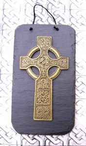 Irish Celtic Cross slate wall plaque.